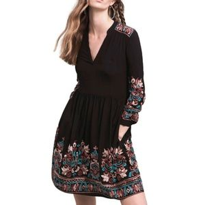 ANTHROPOLOGIE Floreat Black Embroidered Dress